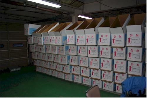 Hier werden die Boxen verpackt